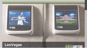 LeoVegas promotion promotion on Captive Media washroom screen