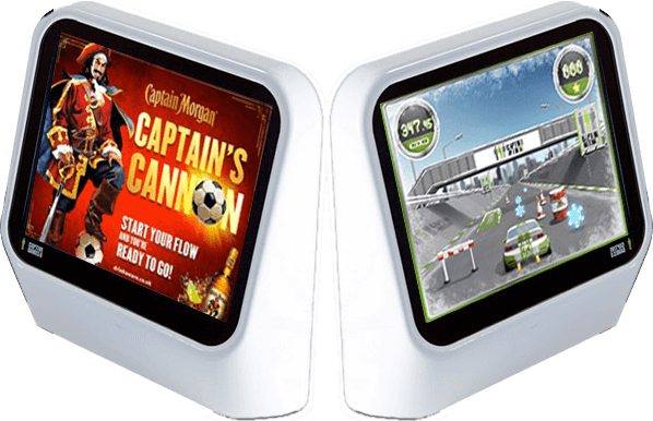 Captive Media games on 2 interactive screens